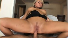 Lustful blonde cougar with big tits is in need of a stiff cock drilling her ass deep
