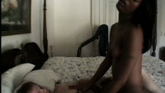 Barely legal red bone cutie with a huge ass goes down on a white guy