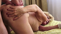 The horny lady has him drilling her cunt from behind and enjoys it to the fullest