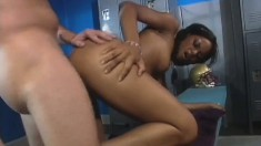 Black slut Marie Luv gets fucked by a football player in the locker room