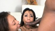 Alexa Cruz and Leslie Sierra enjoy lesbian sex and share a black stick