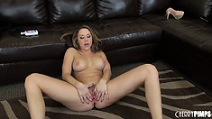 Tempting and totally seductive bitch Chanel Preston fingers her hose