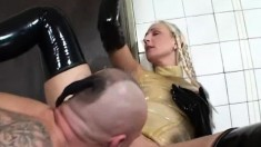 Sabine and Adrien in a hot latex fourway in the garage getting it all