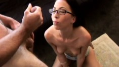 Lovely nerd Veronica Jett wears glasses while sucking a cock