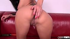 Skinny brunette tramp fingers both of her naughty fuck holes