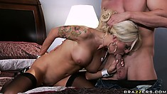 Helly Hellfire grabs this guy's cock and sucks it hard in a sweet porn video