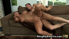 Lovely Nikki Sexx rides his rod, boobs bouncing, then gets spooned