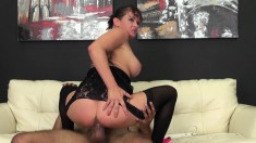 Buxom brunette Tory Fucking slurps on his dick before he shoves it in