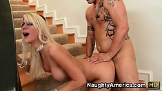 Blonde babe Jazy Berlin gets nailed doggy style and he pounds her