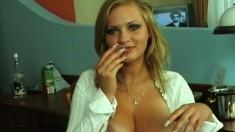 Ravishing blonde in white stockings Malina sets her big hooters free
