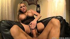 Blonde MILF hottie raises a ruckus sucking and fucking his meat