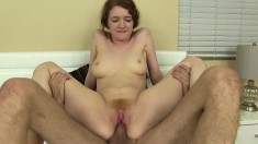Slutty Abbey Rain screams with pleasure while riding this huge dick