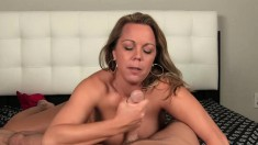 Big breasted blonde milf Amber Bach puts her sweet lips to work in POV