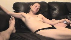 Wild slut Jane gets fucked hard and finishes her guy off with her lips