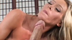 Sultry blonde wife spreads her sexy legs and gets drilled in the ass
