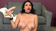 Stacked brunette with long legs pleases her fiery holes with sex toys