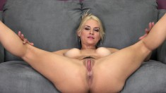 Buxom blonde cougar puts her curves on display and fucks a young cock