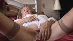 Curly Granny With Dark Stocking