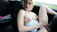 Blonde Amateur Takes Facial Outdoors In Public