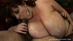 This old guy has got a mean big cock and he wants his BBW girlfriend to have it all