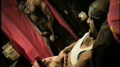 Two hung black thugs get turned on watching each other jack off