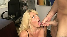 Cougar with gigantic gazongas gets a coat of jizz on her tongue