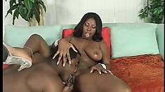 Big breasted ebony tart gets her juicy tits oiled and fucked