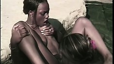 Skinny black babe gets her pussy eaten out and fucked by a sistah