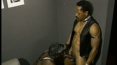 Leather and rhinestone clad gay couple sucking cock and eating ass