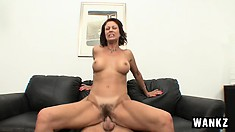 Hot brunette MILF gets her hairy snatch slammed on a young cock