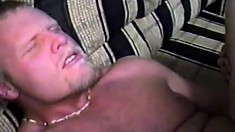 Handsome gay guys spread each other wide open during a foursome