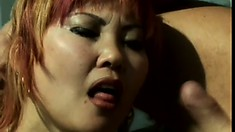 Hot Asian Milf Miko Tan blows, gets fingered and fucked out under the sun