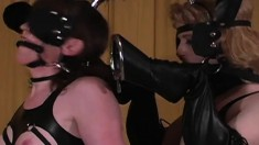 Tons of pony girls line up in their finest leather to be auctioned
