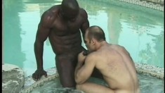 Big cock black dude trades head and fucks his white buddy in the ass before they jerk off