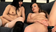 Sultry babes Yumi and Katrina indulge in lesbian sex for the first time