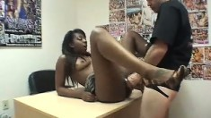 Two dazzling black babes get their sweet pussies fucked by a white guy