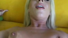 Vivacious blonde spreads her legs and a long rod drills her ass in POV
