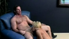 Big breasted blonde shows off her awesome body and fucks a hard cock