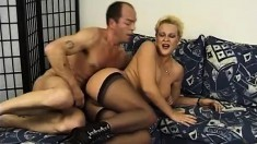 Mature sex addict Diana takes a cum shower after her slit gets boned