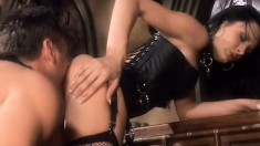 Nasty mistress makes her tied up slave eat her out and drill her twat