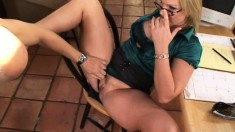 Kinky blondie in glasses meets a foot fetishist and gives him what he wants