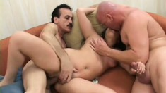 Money hungry Asian slut give two dudes their money's worth in a dirty way