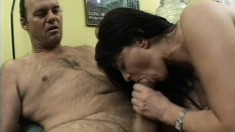 Cindy's hairy snatch gets pounded deep and she quivers with pleasure