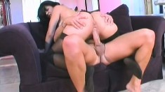 A couple of well-endowed guys nail an amateur in all her holes