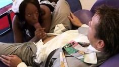 Lusty ebony girl in a french maid costume gets her ass wrecked by her boss