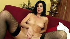 Wild cougar in black stockings Lake Russell has a tight pussy yearning for a hard cock