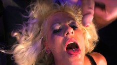 Alicia gets her holes roughly drilled and her mouth filled with jizz