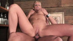 Busty blonde Vannah can't wait to let in her lover's immense bone