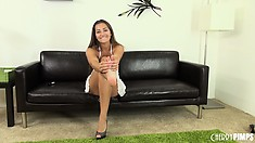 Saucy brunette Dani Daniels puts on a live show and shows her hot ass