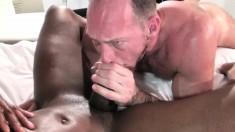 Crazy hot Champ Robinson and Randy Harden have interracial gay sex